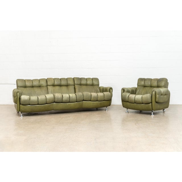 Vintage Mid Century Green Leather Lounge Chair in the Style of Percival Lafer, 1970s, Matching Sofa Available For Sale - Image 10 of 11