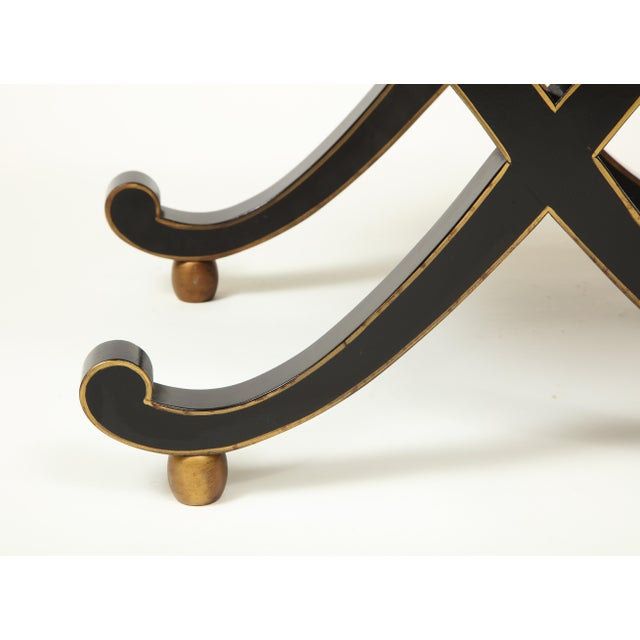 Wood Colefax & Fowler Black and Gilt X-Form Bench For Sale - Image 7 of 8