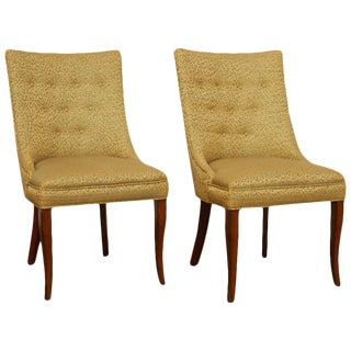 Mid-Century Modern Scoop Back Gold Side Chairs For Sale