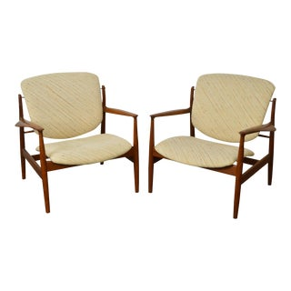 Finn Juhl Danish Modern Teak Lounge Chairs - A Pair
