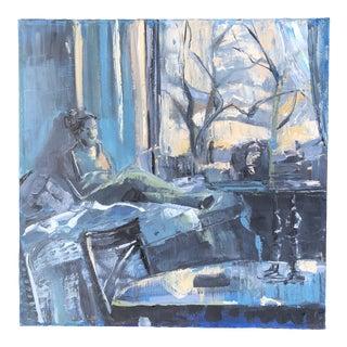 Vintage Original Female Figure in Blue Interior Impressionist Painting For Sale