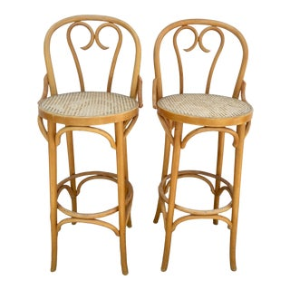 Vintage Mid Century Bentwood and Cane Cafe Bar Stools-A Pair For Sale