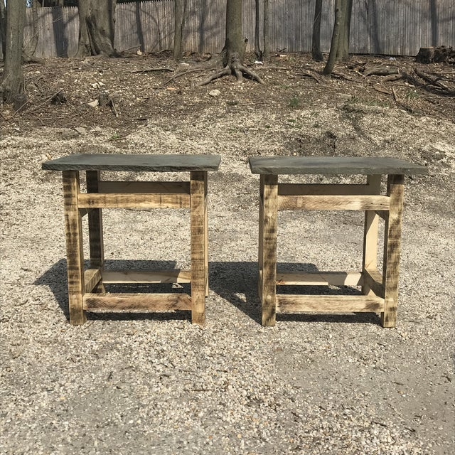 Rustic Handcrafted Oak & Shale Side Tables - a Pair For Sale - Image 9 of 9