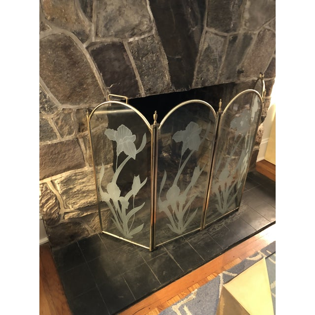 Beautiful Etched Glass 4 Panel Fireplace Screen in the manner of Leon Rosen. Polished Brass frame. HEAVY! Each panel...