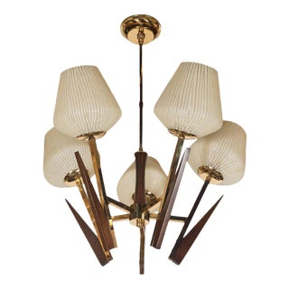 Mid-Century Modernist Chandelier in Ebonized Walnut, Brass, and Textured Glass For Sale
