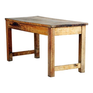 Vintage French Country Wooded Butchers Table For Sale