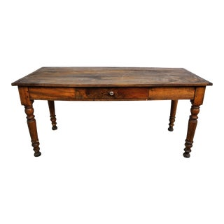 Antique French Country Oak Dining Table W/ One Drawer For Sale