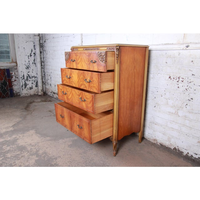 Romweber French Provincial Louis XV Burled Mahogany Highboy Dresser For Sale - Image 9 of 13