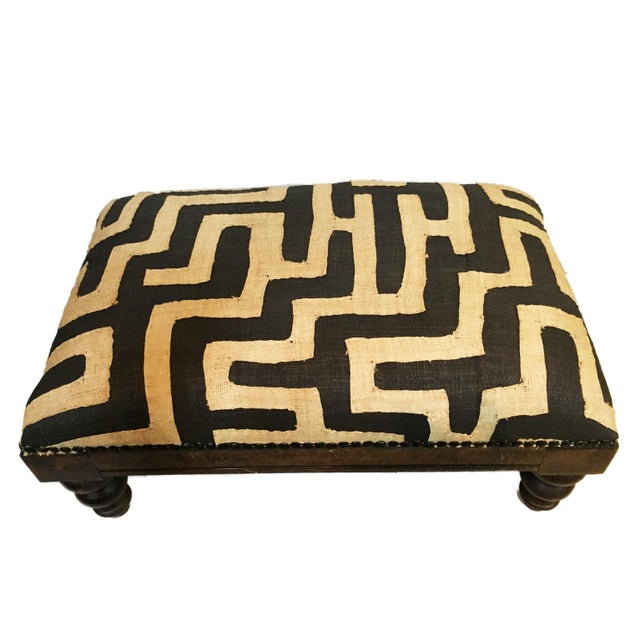 Superb Unique and exclusive design custom made by Ethnika low solid wood stool in African Black and white Kuba Applique...