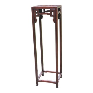 Vintage Chinese Rosewood Carved Plant Stand Pedestal For Sale