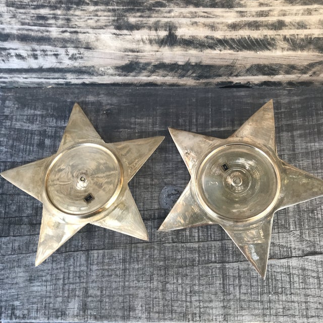 1980s Vintage Star Shape Solid Brass Pillar Candle Holders - a Pair For Sale - Image 5 of 9