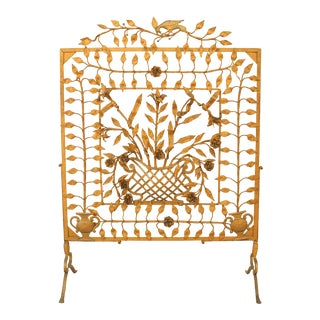 Victorian Wrought Iron Fire Screen For Sale