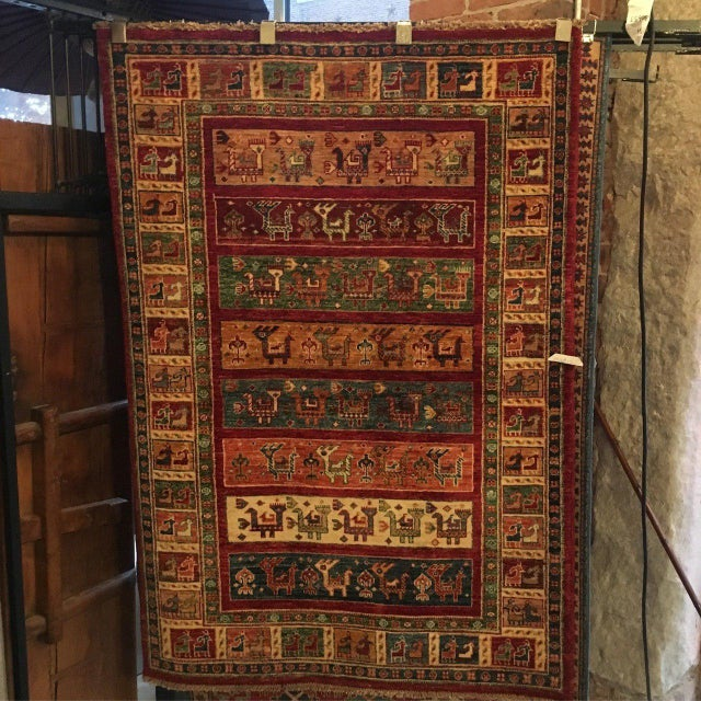 Boho Chic Patterned Tribal Rug - 3′5″ × 5′ For Sale - Image 3 of 3