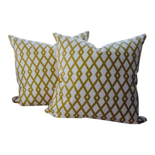 Chartreuse Green Trellis Design Zippered Pillows - a Pair For Sale