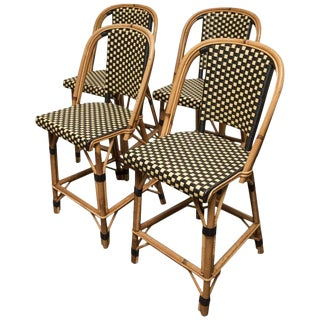 1920s Vintage Original French Bistro Counter Chairs- Set of 4 For Sale