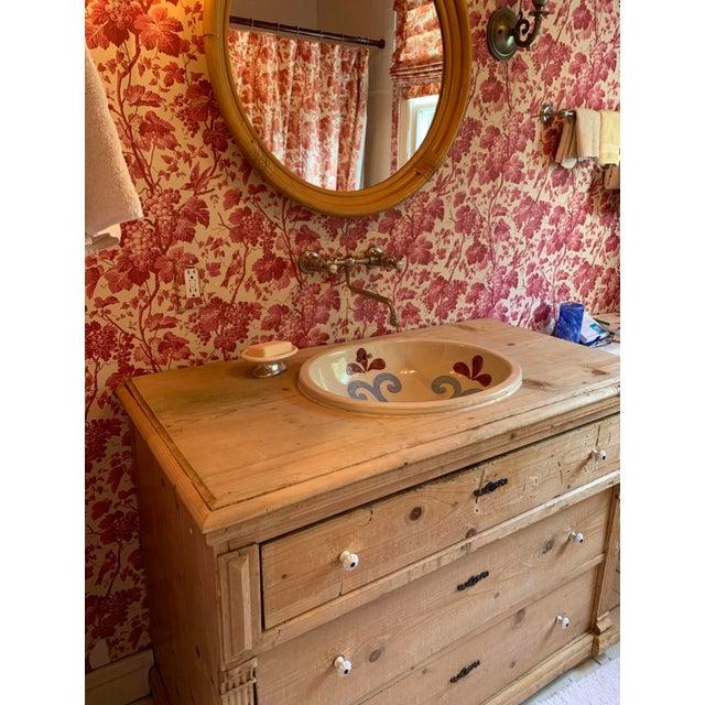 Custom Pine 3-Drawer Bathroom Vanity With Talavera Sink For Sale - Image 4 of 13