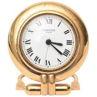 Cartier 24 Karat Gold Plated Travel Quartz Desk Clock Desk Accessory For Sale