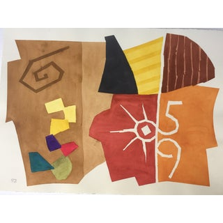 Vintage Abstract Watercolor by Stokes C.1990