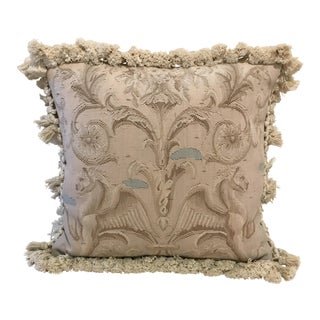 Vintage French Aubusson Gryphon Pillow For Sale