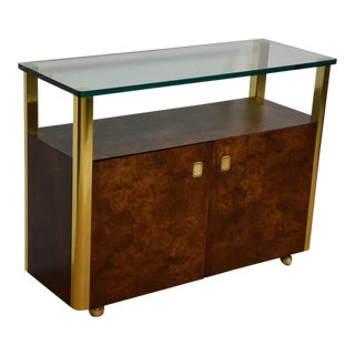 Brass, Burl, and Glass Bar Cart For Sale