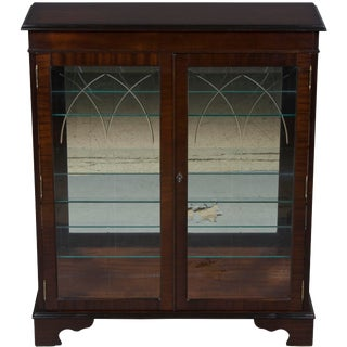 1960s Vintage English Mahogany & Glass Display Cabinet/Bookcase