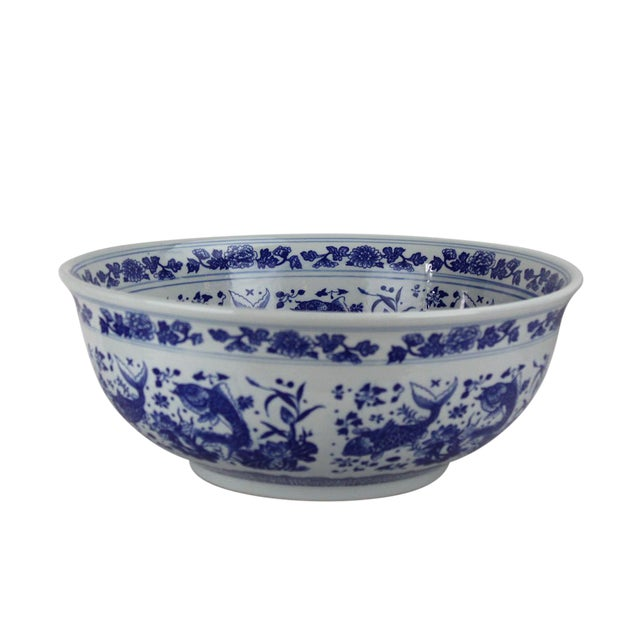 Ceramic Pasargad DC Modern White and Blue Motif Sink Bowl For Sale - Image 7 of 8