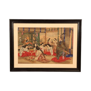 Antique Japanese Painting on Silk of Genpoka For Sale