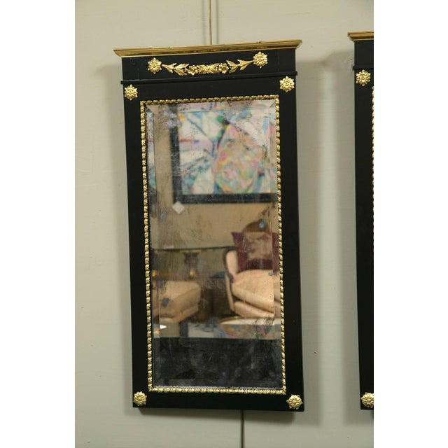 A Pair of Antique Ebony & Giltwood Mirrors - Image 5 of 7