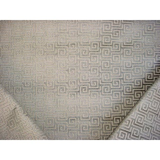 3y Thibaut Aw26129 Meander Steel Greek Key Textured Velvet Upholstery Fabric For Sale