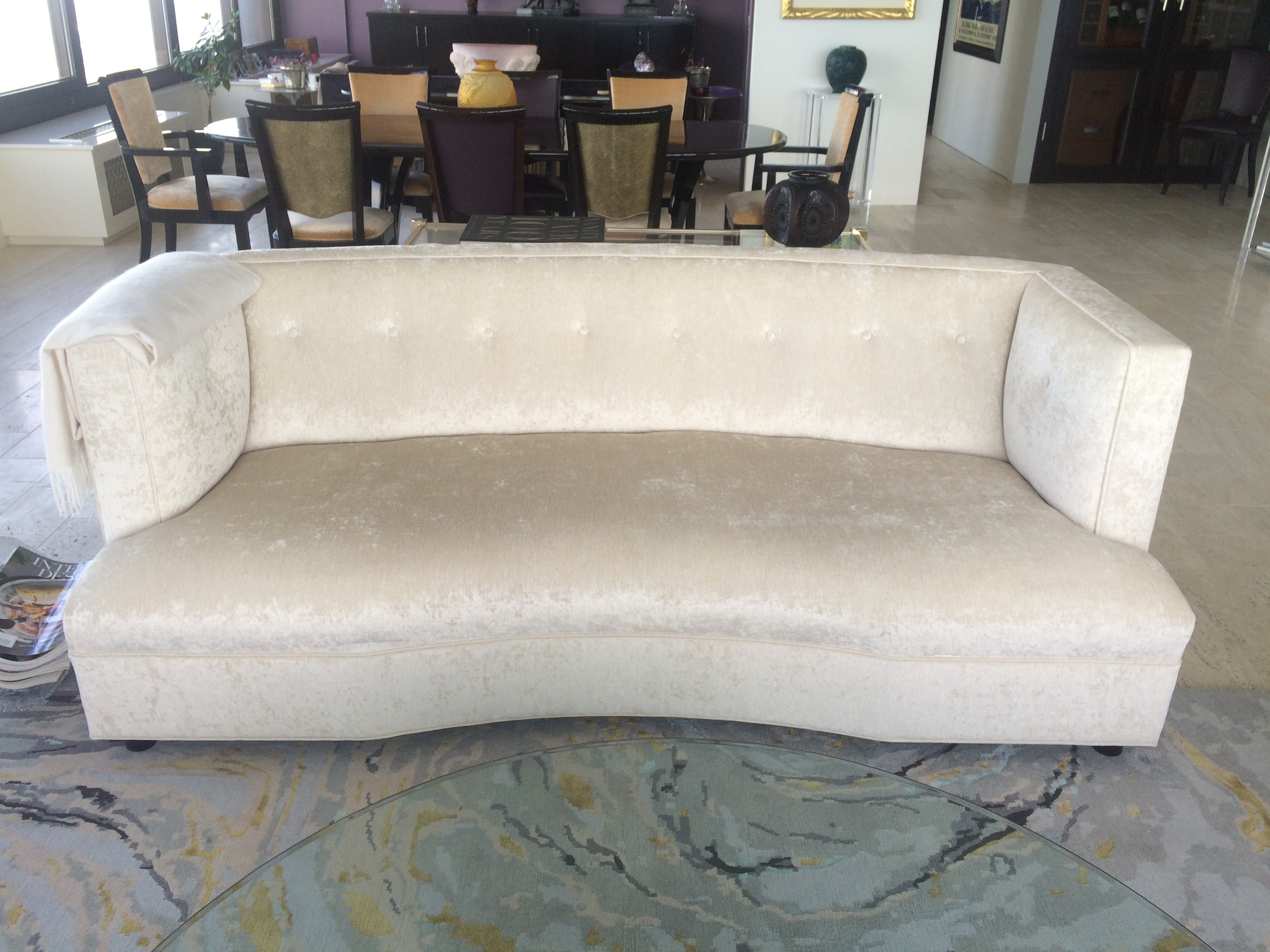Mitchell Gold Dumont Velvet Sofa In Creamy White Color. Perfect Mint  Condition. Just Decided