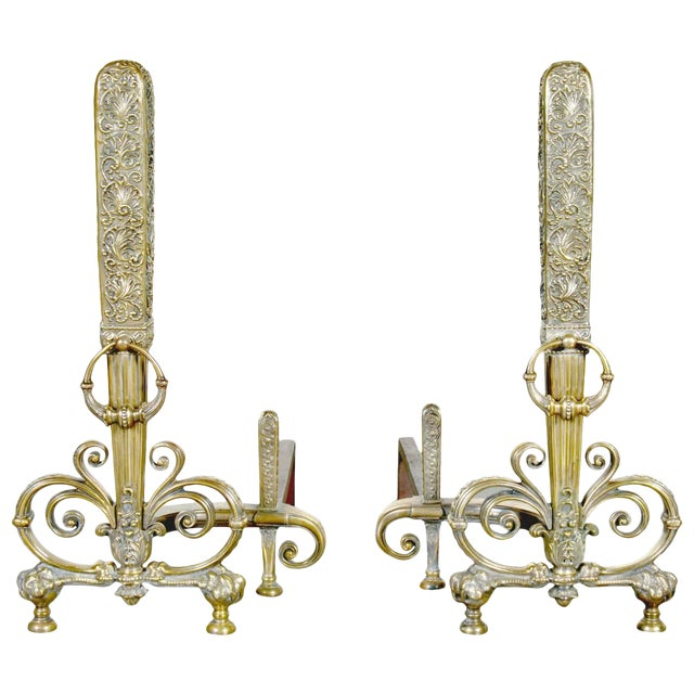 Fine Pair of Brass and Wrought Iron Andirons Attributed to Tiffany Studios For Sale