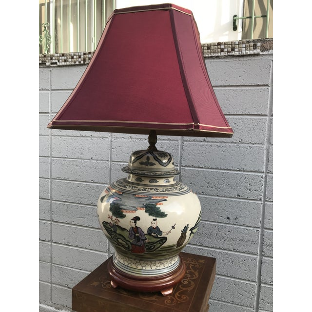 Antique Rare Chinoiserie Hand Painted Ginger Jar Lamp For Sale - Image 13 of 13