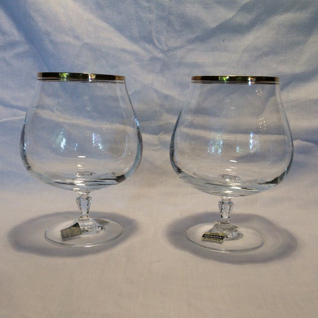 Crystal Gold Rim Brandy Snifters by Mikasa West Germany - a Pair - Image 2 of 11