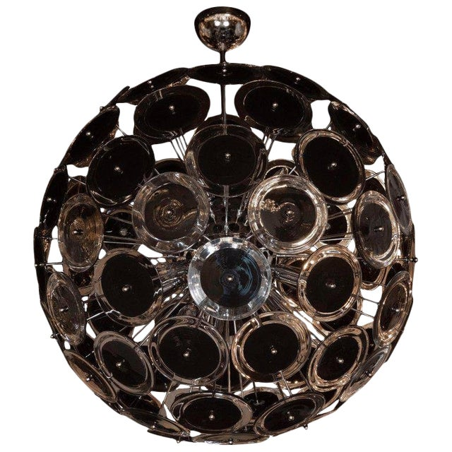 Modernist Polished Nickel Vistosi Chandelier With Handblown Murano Black Discs For Sale
