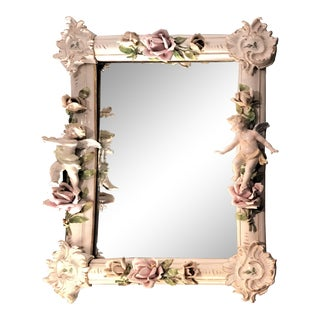 19th Century Meissen Style Lavishly Decorated Porcelain Mirror For Sale
