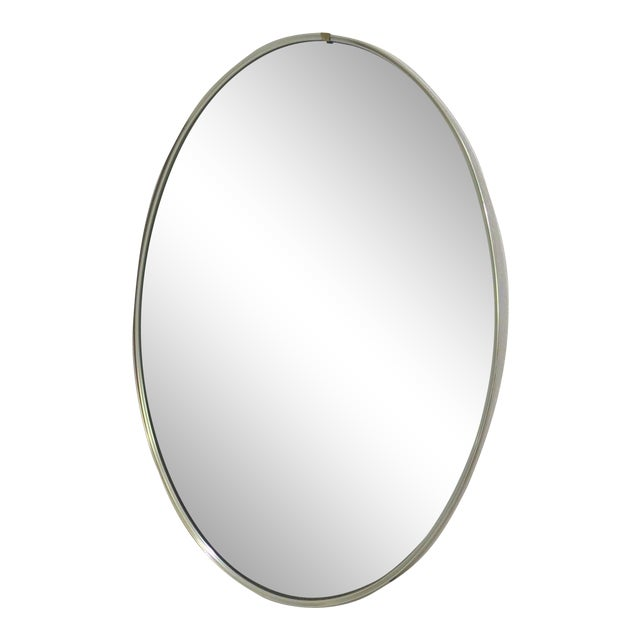 Mid-Century Modern Turner Mfg. Oval Chrome Mirror For Sale