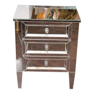 Custom Single Starphire Mirrored Beveled Chest of Drawers