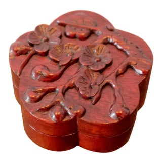 Vintage Hand Carved Floral Wooden Box