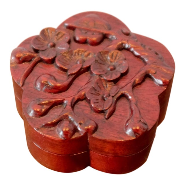 Vintage Hand Carved Floral Wooden Box For Sale