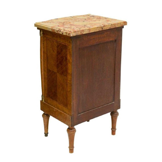 19th Century Empire Burl Walnut Marquetry Marble Top Antique Bedside Cabinet or Side Table For Sale - Image 4 of 13