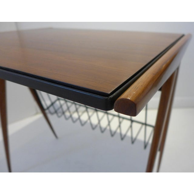 Metal Side Table with Magazine Rack by Arthur Umanoff For Sale - Image 7 of 9