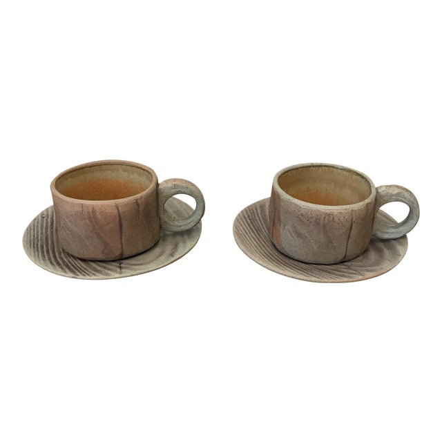 Vintage Pottery Mugs With Saucers - Set of 4 For Sale