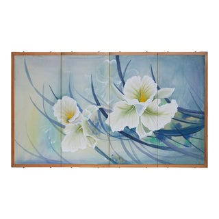 C. 1960s Vintage Painted Silk Screen With Orchids For Sale