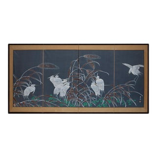 Circa 1950s Vintage Chinese Silk Screen With Egrets in a Pond For Sale