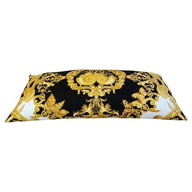 Large Designer Versace Silk Aquatic Baroque Pillow For Sale In Los Angeles - Image 6 of 9
