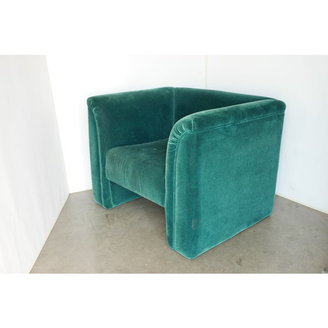 Mueller Furniture Vintage Blue- Green Mohair Club Chairs - a Pair For Sale - Image 4 of 12