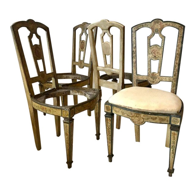 Four 18th Century Italian Painted Side Chairs For Sale