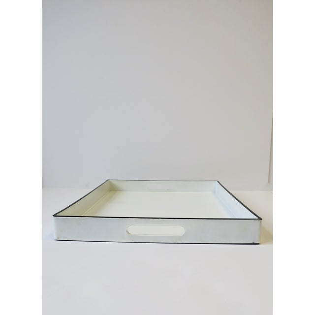 Resin White and Black Lacquer Serving Tray For Sale - Image 7 of 13