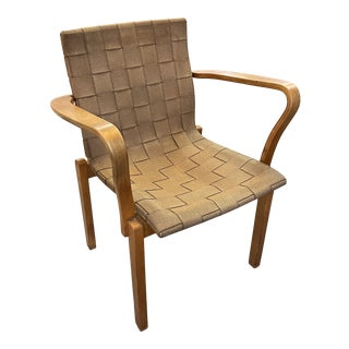 Mid 20th Century Wood Framed Armchair with Strap Webbing For Sale