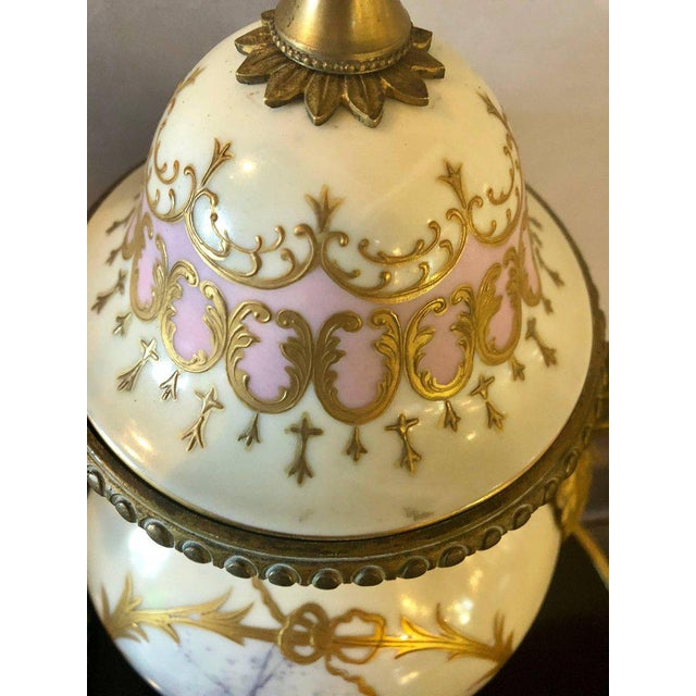 Bronze Mounted French Porcelain Serves Urns Converted into Table Lamps - a Pair For Sale - Image 9 of 12